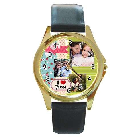 Mothers Day By Mom   Round Gold Metal Watch   Ufgzv2ynwhc8   Www Artscow Com Front