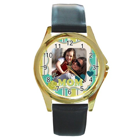 Mothers Day By Mom   Round Gold Metal Watch   Dv8ku702i742   Www Artscow Com Front