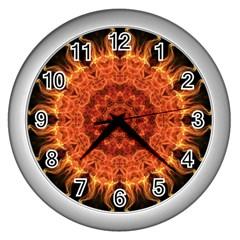Flaming Sun Wall Clock (silver) by Zandiepants