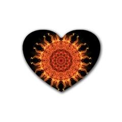 Flaming Sun Drink Coasters (heart) by Zandiepants