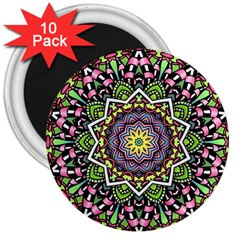 Psychedelic Leaves Mandala 3  Button Magnet (10 Pack) by Zandiepants