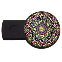 Psychedelic Leaves Mandala 2gb Usb Flash Drive (round) by Zandiepants