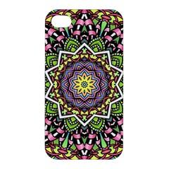 Psychedelic Leaves Mandala Apple Iphone 4/4s Premium Hardshell Case by Zandiepants