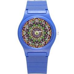 Psychedelic Leaves Mandala Plastic Sport Watch (small) by Zandiepants