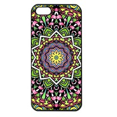 Psychedelic Leaves Mandala Apple Iphone 5 Seamless Case (black) by Zandiepants