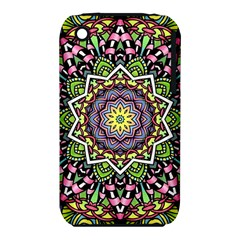 Psychedelic Leaves Mandala Apple Iphone 3g/3gs Hardshell Case (pc+silicone) by Zandiepants