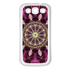 Purple Flower Samsung Galaxy S3 Back Case (White)