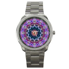 Purple Lotus Sport Metal Watch by Zandiepants