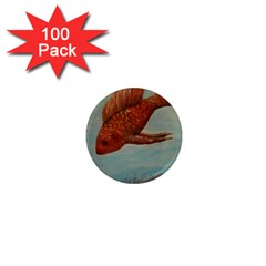 Gold Fish 1  Mini Button Magnet (100 Pack) by rokinronda