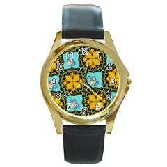 Orange Unicorn Round Leather Watch (gold Rim)  by Rbrendes