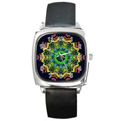 Big Burst Square Leather Watch by Rbrendes