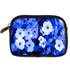 Blue Flowers Digital Camera Leather Case by Rbrendes