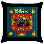 Believe throw pillow case, black - Throw Pillow Case (Black)