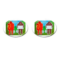 2 Yeh Ren,text & Flag In Forest  Cufflinks (oval) by creationtruth