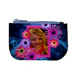 Pink petals on blue smoke girl purse with photo frame - Mini Coin Purse