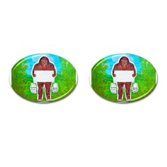 Yeh Ren Text,in Forest  Cufflinks (oval) by creationtruth