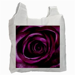 Deep Purple Rose White Reusable Bag (One Side) by Colorfulart23