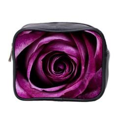 Deep Purple Rose Mini Travel Toiletry Bag (two Sides)