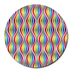 Rainbow Waves 8  Mouse Pad (round) by Colorfulplayground
