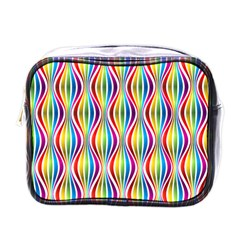 Rainbow Waves Mini Travel Toiletry Bag (one Side)