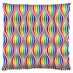 Rainbow Waves Large Cushion Case (two Sided)  by Colorfulplayground