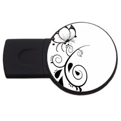 Floral Butterfly Design 4gb Usb Flash Drive (round) by OneStopGiftShop