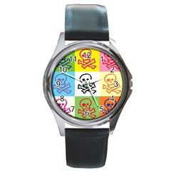 Skull Round Leather Watch (silver Rim) by Siebenhuehner