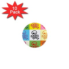 Skull 1  Mini Button Magnet (10 Pack) by Siebenhuehner