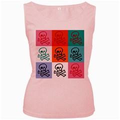 Skull Women s Tank Top (pink) by Siebenhuehner