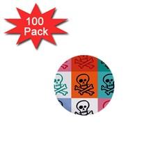Skull 1  Mini Button (100 Pack) by Siebenhuehner