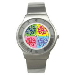 Flower Stainless Steel Watch (slim) by Siebenhuehner