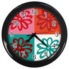 Flower Wall Clock (black) by Siebenhuehner