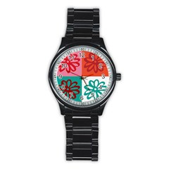Flower Sport Metal Watch (black) by Siebenhuehner