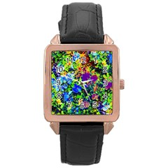 The Neon Garden Rose Gold Leather Watch  by rokinronda