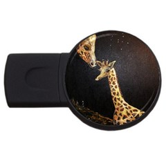 Baby Giraffe And Mom Under The Moon 2gb Usb Flash Drive (round) by rokinronda