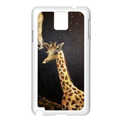 Baby Giraffe And Mom Under The Moon Samsung Galaxy Note 3 N9005 Case (white) by rokinronda