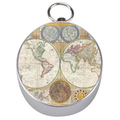 1794 World Map Silver Compass by StuffOrSomething