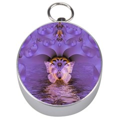 Artsy Purple Awareness Butterfly Silver Compass by FunWithFibro