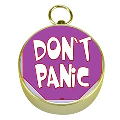 Purple Don t Panic Sign Gold Compass by FunWithFibro