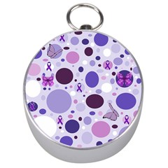 Purple Awareness Dots Silver Compass by FunWithFibro