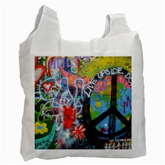 Prague Graffiti White Reusable Bag (Two Sides) by StuffOrSomething