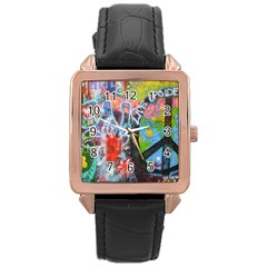 Prague Graffiti Rose Gold Leather Watch  by StuffOrSomething
