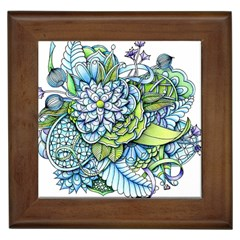 Peaceful Flower Garden Framed Ceramic Tile by Zandiepants