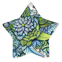 Peaceful Flower Garden Star Ornament by Zandiepants