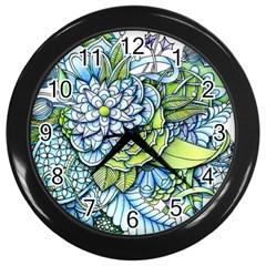 Peaceful Flower Garden Wall Clock (black) by Zandiepants