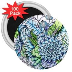 Peaceful Flower Garden 2 3  Button Magnet (100 Pack) by Zandiepants