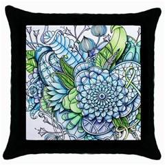 Peaceful Flower Garden 2 Black Throw Pillow Case by Zandiepants