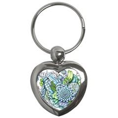 Peaceful Flower Garden 2 Key Chain (heart) by Zandiepants
