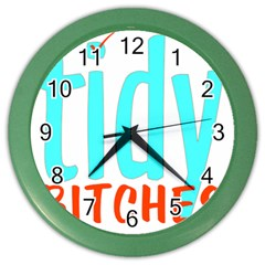 Tidy Bitcheslarge1 Fw Wall Clock (color) by tidybitches