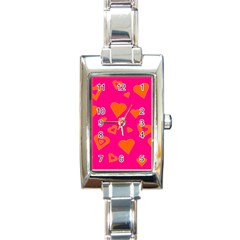 Hot Pink And Orange Hearts By Khoncepts Com Rectangular Italian Charm Watch by Khoncepts